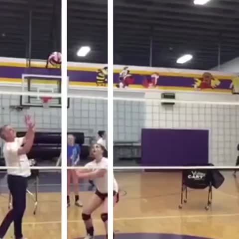 This clip give anyone else flashbacks to gym class??? Heads up! 🏐