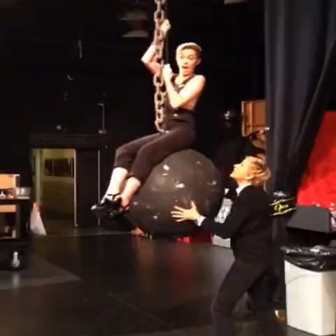 Miley Ray Cyrus came in like a wrecking ball. She also came in on a wrecking ball. vine