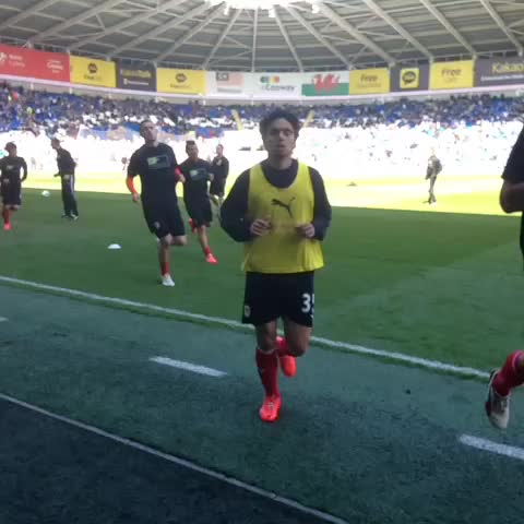 VINE: The lads come in from their pre-match warm-up. Just over 10 minutes to go! - Cardiff City FCs post on Vine