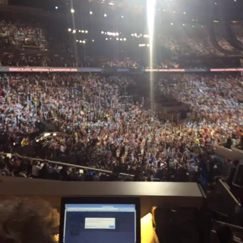 """Vine by Emily Shire - Reaction in Wells Fargo after Obama says no man or woman has been """"more qualified"""" than Hillary #DemsInPhilly"""