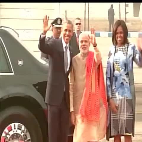US President Obama and PM Modi at Palam Airport, Delhi #ObamaInIndia - Vine by ANI - US President Obama and PM Modi at Palam Airport, Delhi #ObamaInIndia