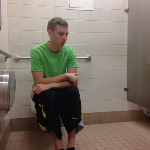 Awkward moment in a public toilet