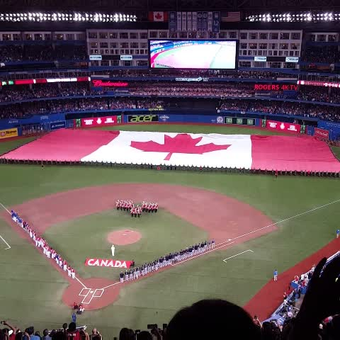 Vine by Emma Loop - .@CanadianForces members from across Ontario unfurl the ???? flag. #canadajays #canadaday