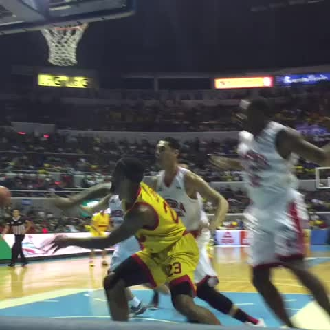 Vine by Rappler Sports - Marc Pingris with the clean-up job #PBA2016 #ManilaClasico