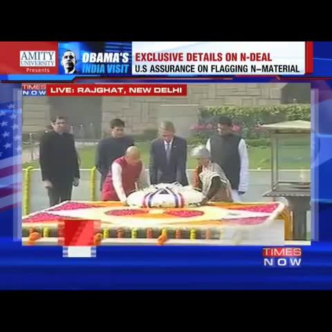 Vine by TIMES NOW - President Barack Obama pays homage to Mahatma Gandhi at Raj Ghat #TheObamaVisit