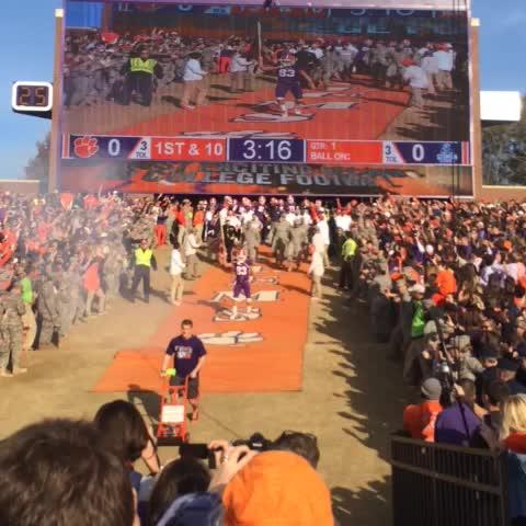 Clemson Tigerss post on Vine - Purple Heart and Bronze Star recipient Daniel Rodriguez led the Tigers down The Hill today! - Clemson Tigerss post on Vine