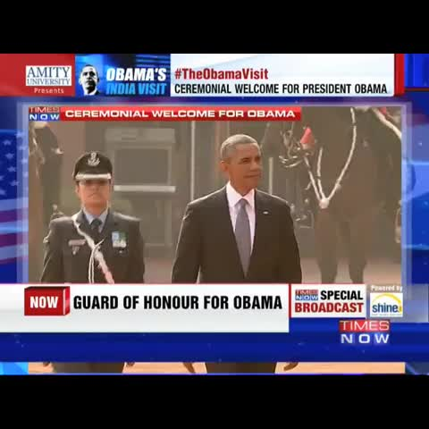 Vine by TIMES NOW - President Obama inspects the Guard of Honour at Rashtrapati Bhavan led by Wing Cmdr Pooja Thakur #TheObamaVisit