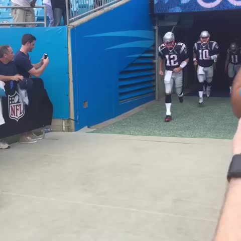 Vine by New England Patriots - Taking the field for warm-ups. #NEvsCAR
