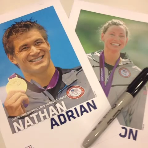 Fans Getting Autographs From Nathan Adrian and Haley Anderson