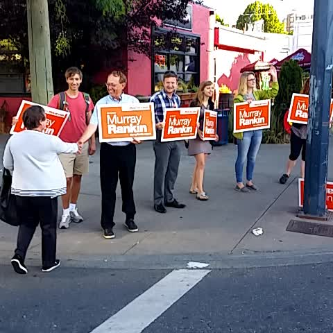 Vine by Victoria NDP - Waving and cheering this morning  near @themarketstores on #yates with @MurrayRankin. Honk for change! #yyj #elxn42