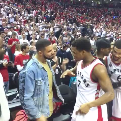 Vine by NBA - Drake, Lowry, and the Toronto Raptors celebrate their game 7 victory #NBAVine