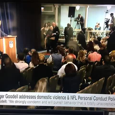"Sam Lairds post on Vine - Weird interruption in the Goodell presser just now. ""DONT TAKE ME TO AN ELEVATOR"" - Sam Lairds post on Vine"