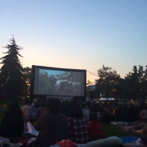 Jumanji on the outdoor screen. #vancouver #RIPRobinWilliams - Claire Martins post on Vine