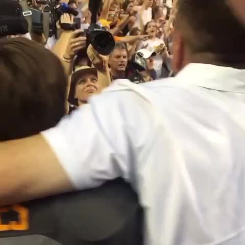 Vine by @GrantRamey - What beating Florida meant to Butch Jones (hugging his son, Alex).