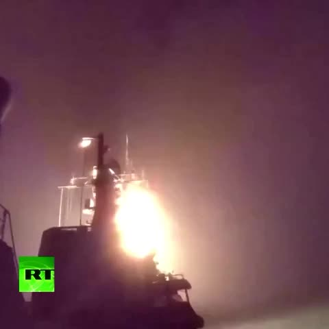 Russian warships fire cruise missiles at ISIS in Syria from Caspian Sea - Vine by Russia Today - Russian warships fire cruise missiles at ISIS in Syria from Caspian Sea