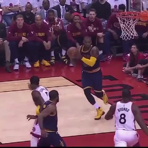 Vine by LeBron James ✅ - 👑 King James with the 1-hand finish! #Cavs #Raptors #ECF