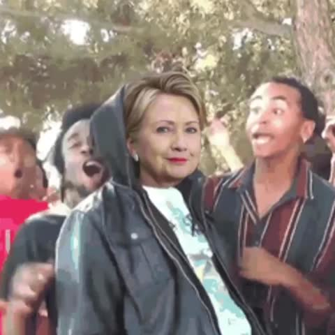 Vine by FallonTonight - Hillarys reaction after Bernie said hes voting for her.