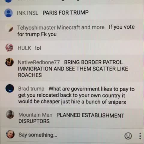 Vine by Jeff Elder - Chat for #Trump live stream of #SF talk is ummm...