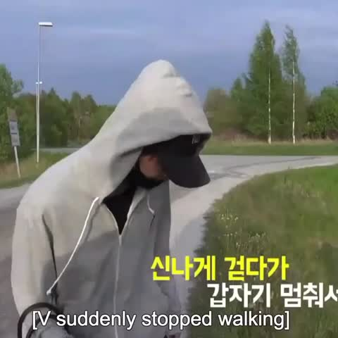 Vine by - dreamytaetae - - taehyung was lost but he suddenly stopped to blow a dandelion 😂 hes so cutee #btsbonvoyage