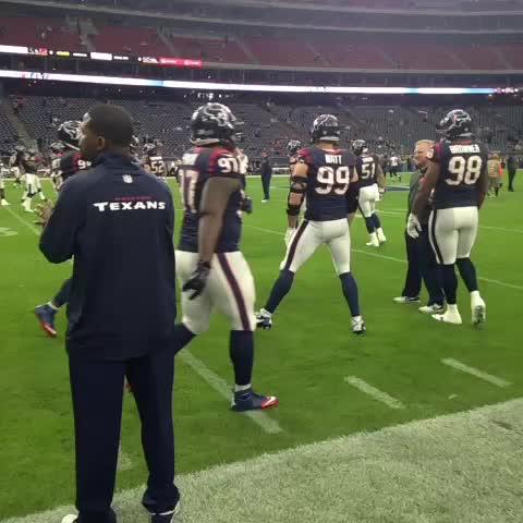 Vine by Deepi Sidhu - J.J. Watt warming up. #Texans