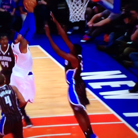 Victor Oladipo stops Melo at the rim!! - Jason Damianos post on Vine