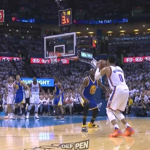 Vine by DefPenSports - So Russell Westbrook kicks his leg out at Draymond Green..... #WarriorsVThunder