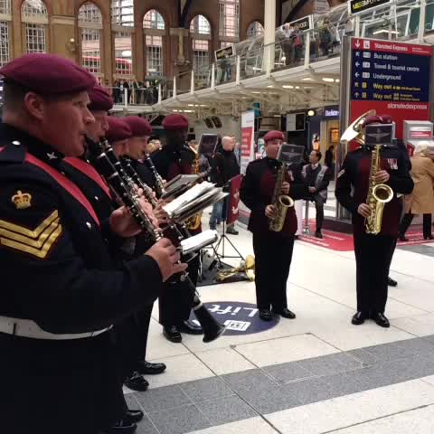 Military band performing at Liverpool St Station for #LDNPoppyDay! Get your poppies an help our Armed Forces family Live On. - Royal British Legions post on Vine