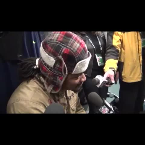 Marshawn Lynch post game interview answers were on point - hank barstool sportss post on Vine