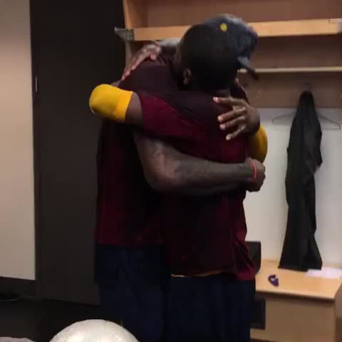Vine by NBA - LeBron & Kyrie embrace!