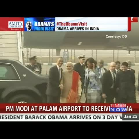 PM Narendra Modi greets US President Barack Obama and First lady #TheObamaVisit - Vine by TIMES NOW - PM Narendra Modi greets US President Barack Obama and First lady #TheObamaVisit