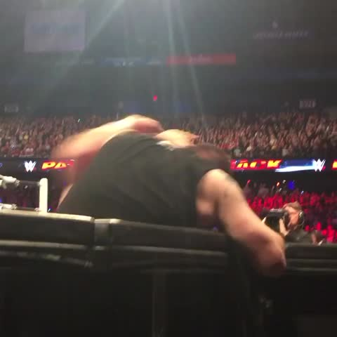 Vine by WWE - .@iLikeSamiZayn takes @FightOwensFight over the barrier with him at #WWEPayback!