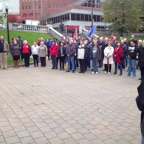 Singing of Oh Canada at vigil for fallen soldiers at #Halifax Grand Parade - Bretts post on Vine