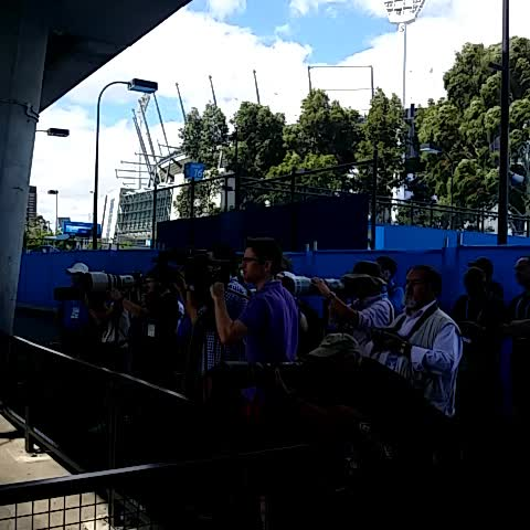 Vine by Australian Open - Stan #Wawrinka is greeted by cameras at the practice courts ahead of his semi final tonight with #Djokovic