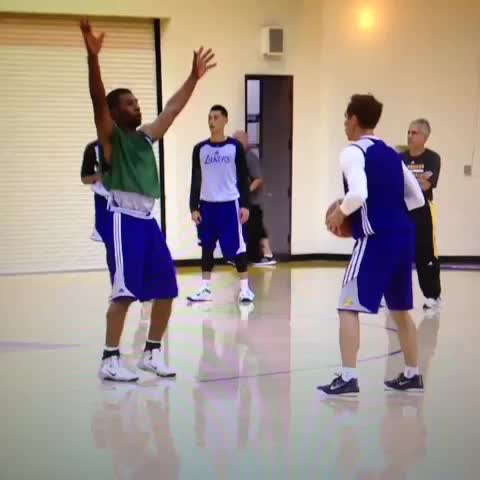 Nash to Kobe during todays scrimmage. Full video at Lakers.com. - Lakers Viness post on Vine