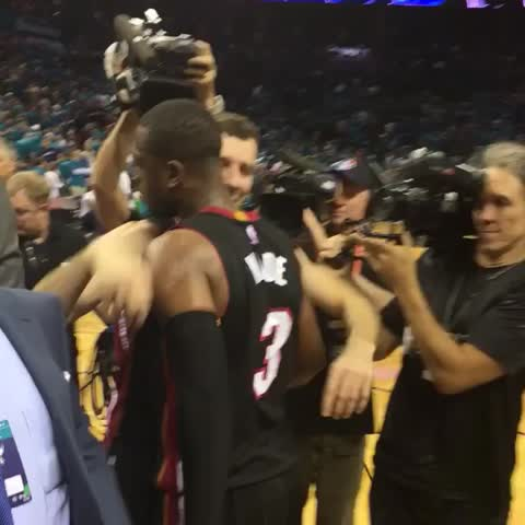 Vine by NBA - D-Wade is met by @MiamiHEAT teammates after CLUTCH Game 6 performance to force Game 7! #ThisIsWhyWePlay