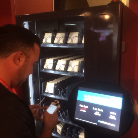 Richard Alfonsis post on Vine - Twitter vending machine at #SXSW.  Tweet your order, get a flask, get it engraved with your @ handle! - Richard Alfonsis post on Vine