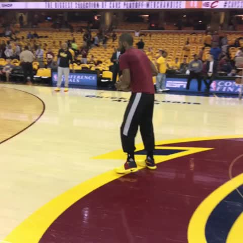Vine by NBA - Kyrie Irving works on his trey ball prior to #CAVSvRAPTORS Game 5 on ESPN.