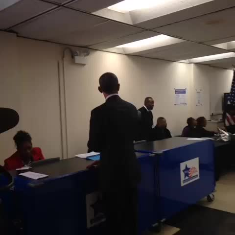 """President Obama goes to his polling place and greets early voters. """"Thats what Im talking about"""" - Katie Zezimas post on Vine"""