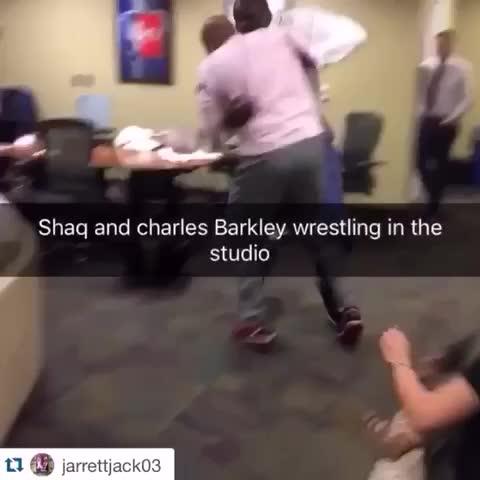 Vine by LegionNBA - Heres SHAQ and Charles Barkley....wrestling. (via Jarrett Jack)