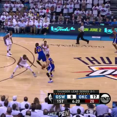 Vine by DefPenSports - Kevin Durant steals it from Stephen Curry, gives it up to Russell Westbrook for the slam!