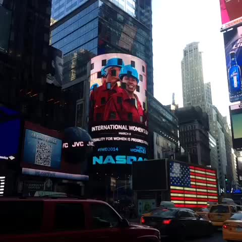 Our work is being featured on the NASDAQ OMX Tower at #TimesSquare today for #IWD2014! - UN Womens post on Vine