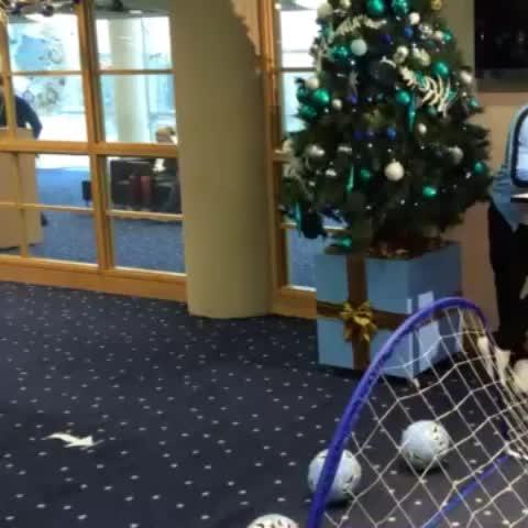 """#MCFCs """"Mr Christmas"""" Aleks Kolarov prepares to spread festive cheer on the advent calendar shoot. - Manchester City FCs post on Vine"""