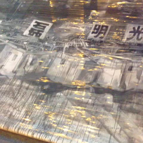 Giant painting of barricade added to barricade to barricade barricade with a barricade. #occupyhk #umbrellarevolution - Hong Kong Hermits post on Vine