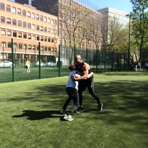Dapperlaughss post on Vine - Showing terrycrews how to play American Football. #Dapperlaughs @terrycrews (Hes lucky he didnt get hurt) - Dapperlaughss post on Vine