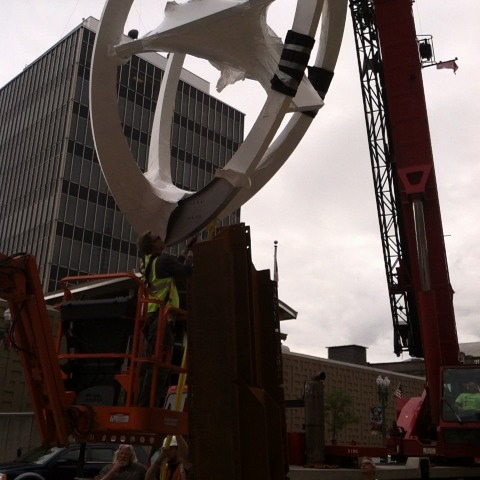 Benjamin Duers post on Vine - Video. Birthplace of Football statue getting installed at 2nd and Cleveland in Canton @cantonrepdotcom #hof14 #artsinstark - Benjamin Duers post on Vine