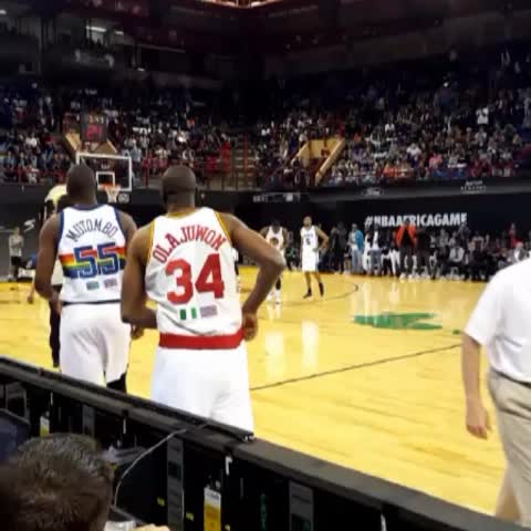 Vine by NBA - Checking in... DIKEMBE & HAKEEM! #NBAAfricaGame