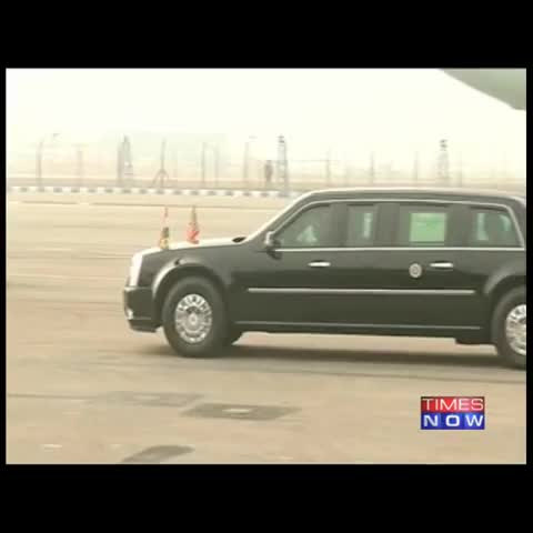 US President Obamas armoured limousine The Beast, flies the Indian & American flags. - Vine by TIMES NOW - US President Obamas armoured limousine The Beast, flies the Indian & American flags.