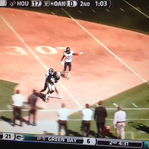 James Jones fumbled the ball twice in one play, D.J. Swearinger picks the ball on the one #Texans #Raiders - Ryan Dunsmores post on Vine