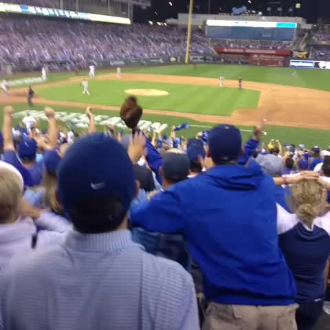 And........ it BOUNCES OFF THE WALL. Hosmer on 3rd base. 8-7 Oakland 1 out on.kmbc.com/1DVAiAD #TakeTheCrown - KC Matty Ds post on Vine