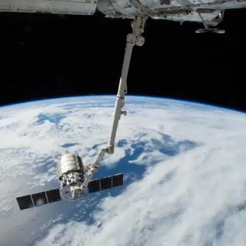 """Reid Wisemans post on Vine - #SpaceVine timelapse - @astro_alex worked the arm and I pushed the """"so long"""" button on #Cygnus - Reid Wisemans post on Vine"""